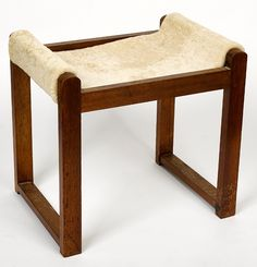 Fred Ward; Wood and Sheepskin Stool, c1950.