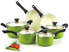 Cook N Home NC-00358 Nonstick Ceramic Coating PTFE-PFOA-Cadmium Free 10-Piece Cookware Set, Green - List price: $79.99 Price: $55.97 Saving: $24.02 (30%)