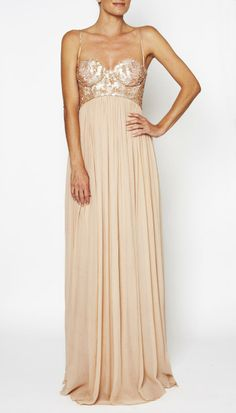 nude colored gown