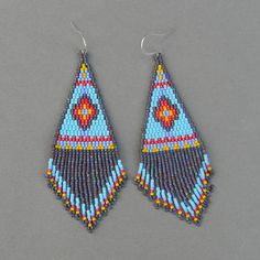 Ethnic style blue seed bead earrings  large peyote by Anabel27shop, $50.00