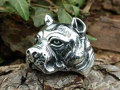 Sterling Silber 925, Schwerer Staffordshire Bull Terrier Ring, Bullterrier, Hund