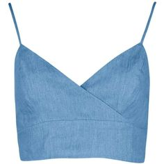 Jessica Top Court En Denim Et Chambray Croisé Devant found on Polyvore