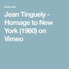 A slightly brutal edit of the scarce footage of Jean Tinguely's most renowned work the self-destructing machine that failed to self-destruct.