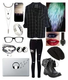 """""""Never Mind"""" by delzisnotonfire ❤ liked on Polyvore featuring Rails, TheBalm, David & Young, Casetify, Ray-Ban, Charlotte Russe, LØMO, Miss Selfridge and Music Notes"""