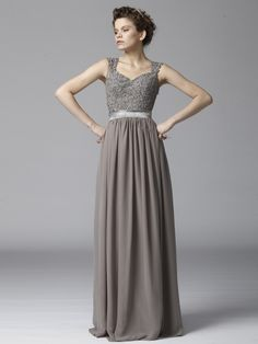 Beaded Lace and Chiffon Dress; Color: Warm Grey; Sizes Available: 2-26W, Custom Size; Fabric: Chiffon