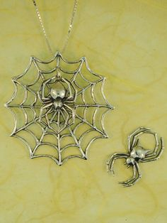 Spider Necklace Spiderweb Necklace Interchangeable by martymagic