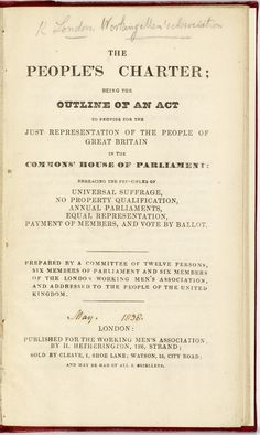 People's Charter, 1838, British Library