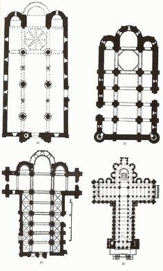 Plantas de iglesias del Románico Pleno español: Jaca, S.Martín de Frómista, S. Isidoro de León y Santiago de Compostela