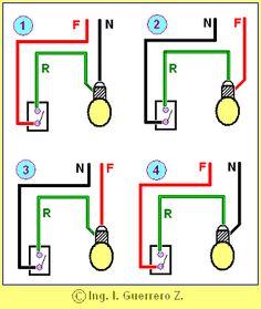 Los pequeños detalles hacen una buena instalación. En los siguientes esquemas puedes observar cuatro formas de conectar una lámpara incande...