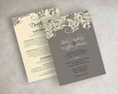 Best Seller! Wedding invitations, victorian filigree pattern design in charcoal gray and ivory www.appleberryink.etsy.com