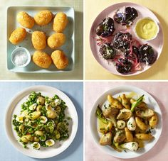 Clockwise from top left: Potato and Cheese Croquettes; Roast Purple Potatoes With Aioli, Horseradish, Pickled...