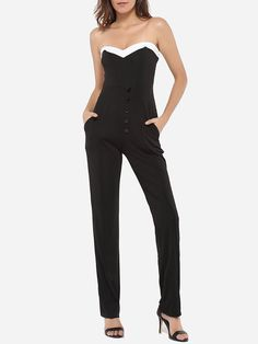 #AdoreWe #FashionMia Jumpsuits - FashionMia Dacron Color Block Jumpsuits - AdoreWe.com