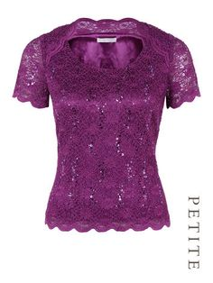 PETITE JERSEY LACE TOP