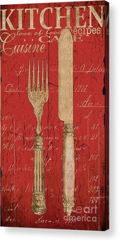 Vintage Kitchen Utensils in Red Painting - Vintage Kitchen Utensils in Red Fine Art Print by Grace Pullen Vintage Diy, Vintage Labels, Vintage Images, Decoupage Vintage, Canvas Art, Canvas Prints, Art Prints, Kitchen Artwork, Deco Originale
