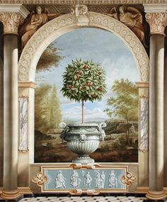 Hand painted for Kips Bay this mural demonstrates many traditional decorative painting techniques, including trompe l'oeil, grisaille and faux marble. Faux Painting, Mural Painting, Mural Art, Wall Murals, Wall Art, Art Decor, Decoration, Beautiful Wall, Fresco