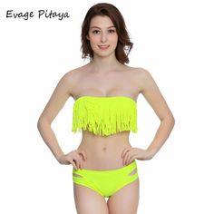 "Yellow ""fringe with benefits"" bikini swimwear"