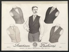 1890-1895, Plate 041. Fashion plates, mens 1880-1939. The Costume Institute Fashion Plates. The Metropolitan Museum of Art, New York. Gift of Woodman Thompson (b1752524x) | These men's vests are from 1894. #fashion