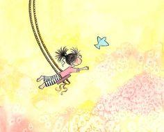 Brunette fille sur la balançoire et Bluebird - la fille qui pouvait voler - 5 x 7 Art Print enfants par TheExtentofSilence