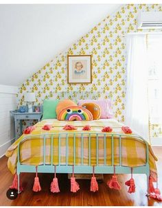 Eclectic vintage kids room with colorful details