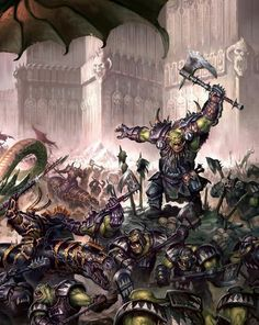The dark legions of Chaos face off against Grimgor Ironhide and his WAAAAGH!!! of Black Orks