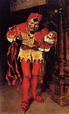 Jester by William Merritt Chase.  Not painted in period but it seems a good representation