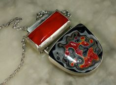 Silver Fordite and Slag Glass Necklace by madstarsilver on Etsy