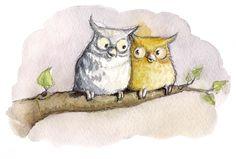 """Owls in Love"" ©Angela Kommoß Aquarell #owls #love #watercolor"
