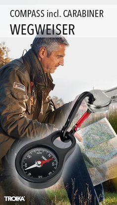 TROIKA WEGWEISER. Keyring with compass, including carabiner *** Schlüsselanhänger mit Kompass, inkl. Karabinerhaken
