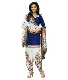 Buy Cheqqers Fashion Blue Cotton Unstitched Dress Material