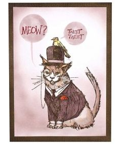 Stamper's Anonymous - Brett Weldele Cling Rubber Stamp Set - Mister Meow Meow