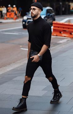 Super Style Fashion Black Men Street Look 30 Ideas Dr. Martens, Dr Martens Men, Dr Martens Style, Dr Martens Outfit, Stylish Mens Fashion, Best Mens Fashion, Moda Indie, All Black Men, Outfits Hombre