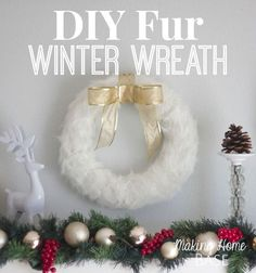 Make a quick holiday wreath that will transition into your winter wreath with faux fur. The perfect crisp and white wreath.
