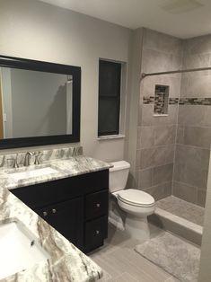 finally, finished our half bath. fantasy brown granite