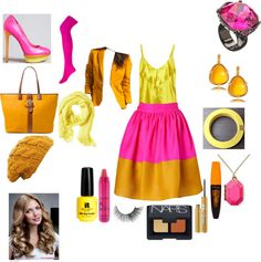 """""""Pink, Yellow and Gold Colorblock Skirt Suit"""" by nkurtz on Polyvore"""