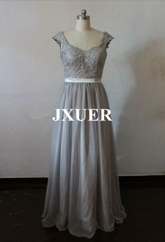 Elegant Gray Cap sleeves Long Wedding prom dresses Lace by JXUER, $128.88