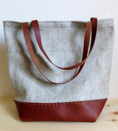 Felt & Recycled Leather Tote Bag