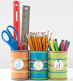Customize an office supply organizer for each family member. These are made from empty aluminum cans!