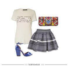 T-shirt Estampada + Saia Godê Étnica + Clutch Bordada + Sandália Salto Grosso #moda #look #outfit #novidades #lojaonline #ootd #shop #lnl #looknowlook