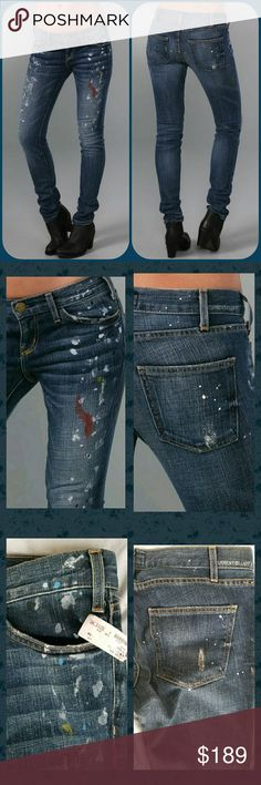 Current Elliott THE SKINNY 80s Jean Paint Splatter luv ! not sure I wanna part w/ cos they are a little 2 big (I usually wear a 28/29. sz 30 .so imho on my body type runs a bit small. MUCH smaller than a CE boyfriend jean new w/retail TAG c pic current elliott the skinny a true 80s Jean worn low & snug hugs every curve or some such wording on tag.. I bought these at a deal cos  were returned & store clerk didn't notice buyer had altered hem .pls c pic .nonetheless.still not short enough cos…