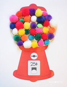 Repeat Crafter Me: Gumball Machine Color Matching with Craft Pom Poms. Four designs. What a cute project for kids!!