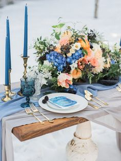 Blue wedding tablescape,  snow wedding mount charleston wedding winter wedding silk fabric gold taper candlesticks vintage dishes farm table