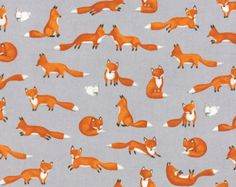 Children's Fox Fabric in Gray - Forest Friends by Ingrid Slyder from Moda 1/2 Yard