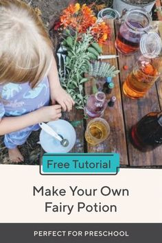 What do you get when you combine science and fairies? Fairy scientists who make their own potions, of course! This activity promotes critical thinking skills as your child mixes, experiments, and creates their very own fairy potions. Fairy Tale Activities, Nature Activities, Hands On Activities, Science Activities, Nature Based Preschool, Preschool Themes, Preschool Science, Art Lessons Elementary, Lessons For Kids