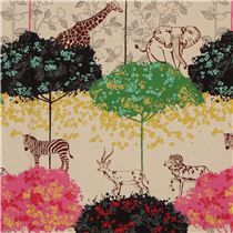 natural echino safari animals laminate fabric acacia pink - Laminates - Fabric