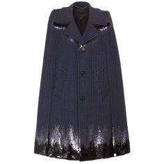 Marc Jacobs - Embellished wool-blend cape - mytheresa.com, $7588, 90/10 wool polyamide, lining 68/32 viscose silk. Looks like a downtown skyline.