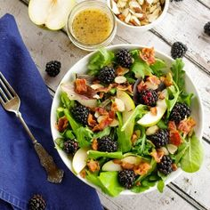 Anjou Pear & Blackberry Salad with a Warm Bacon Vinaigrette