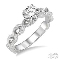 1/2 Ctw Diamond Engagement Ring with 1/3 Ct Round Cut Center Stone in 14K White Gold