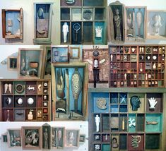 a collage of some of the box assemblages displayed in Re-Visions: Art from Reclaimed Materials, the current art exhibit at the Tohono Chul Park gallery.  See notes for the various artists/titles.   I loved these, cuz I have a bit of a thing for putting stuff in boxes myself.
