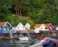 Bath houses in the Oslo fjord, Norway