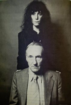 """thebeautyprocess: """"  Patti Smith and William Burroughs (Portrait and Photo by Robert Mapplethorpe) Picture is scanned from With William Burroughs: A Report from the Bunker book by Victor Bockris """""""